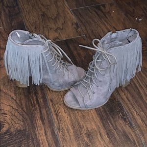 Express gray/tan fringe lace up boots size 7
